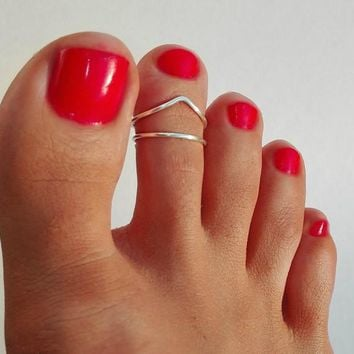 PINJEAS Set of 2 Toe RingFoot Beach Jewelry Adjustable fashion simple (Non Tarnish) Women Lady Elegant birthday Gift