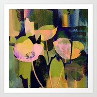 3 abstract flowers Art Print by Clemm