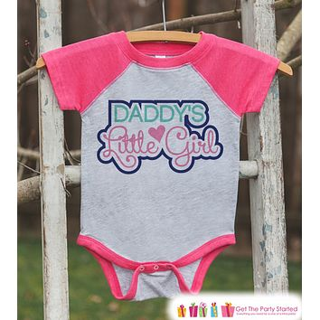 Girls Father's Day Outfit - Pink Raglan Shirt - Daddys Little Girl - Happy Fathers Day Gift, Baby Girls Onepiece or Tshirt - Toddler, Infant