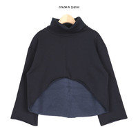 High-Low Cropped Fleece High-Neck Top