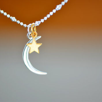 Moon and Star Necklace - Crescent Moon Necklace, Satellite Necklace, Moon Star Celestial Jewelry, Crescent Moon Gold Star Night Sky Galactic