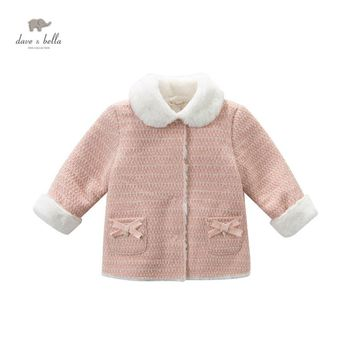 DB4279 DAVEBELLA girl winter pink coat with fleece children outerwear