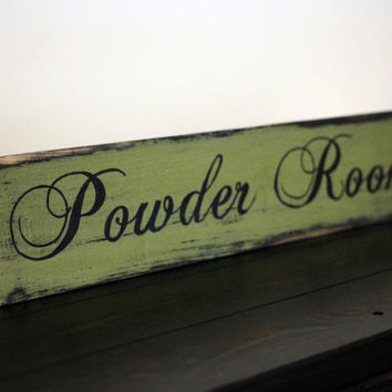 Powder Room Wooden Sign, Bathroom Sign