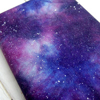 FREE  SHIPPING - TODAY -  galaxy handmade journal, notebook, navy blue, stars