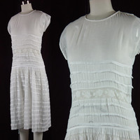 20s White Dress Vintage 1920s Batiste Sheer Wedding Bridal Lace Lawn Tea XS
