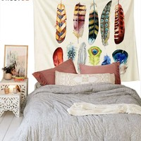 "Cilected White Feather Art Wall Tapestry Fabric Wallpaper Home Decor Hippie Bohemian Wall Hanging Bedspread 58""X 79"""