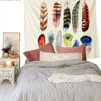"""Cilected White Feather Art Wall Tapestry Fabric Wallpaper Home Decor Hippie Bohemian Wall Hanging Bedspread 58""""X 79"""""""