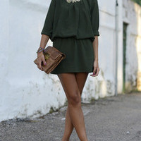 Dark Green Long Sleeve Dress