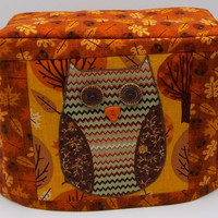 Appliqued Owl Toaster Cover, Two Slice Toaster Cover, Autumn Leaves with Owl Toaster Cover, Autumn Colors