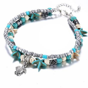 ON SALE - Sea Turtle & Starfish Turquoise Bead Anklet