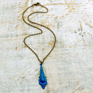 blue necklace neoclassical blue patina simple necklace patina jewelry