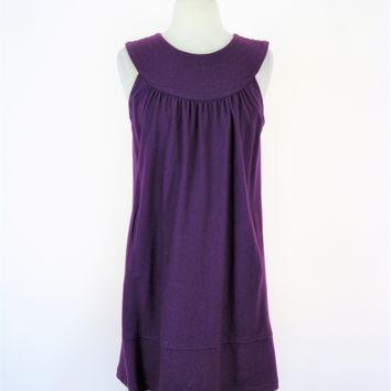 BB Dakota Purple Wool Sleeveless Shift Dress S