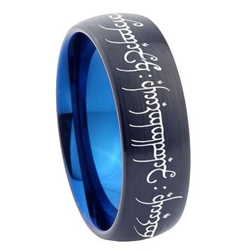 8mm Lord of The Ring Dome Tungsten Carbide Blue Wedding Band Mens