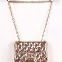 Rose Gold Metallic Quilted Chain Strap Purse
