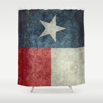 Texas state flag, Vertical retro vintage version  Shower Curtain by Bruce Stanfield