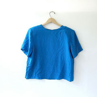 Vintage silk top. Oversized silk blouse. Cropped electric blue silk t shirt.