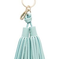 leather double tassel keychain