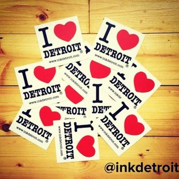 DCCKG8Q Ink Detroit I Love Detroit Bumper Sticker