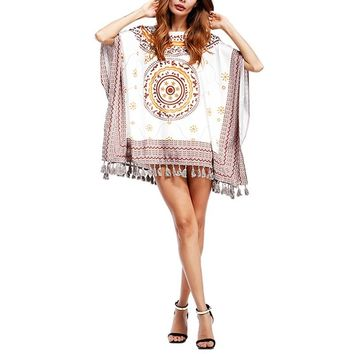 Summerg Mini Dress Vintage Ethnic Print  Dress