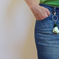 Large Keychain with Mint Green Coral Stone, Green Glass Bead, Large keyring and Lobster Clasp