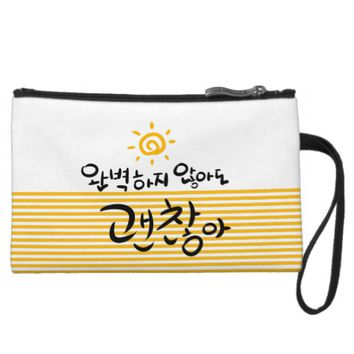 It's Okay Not to Be Perfect (korean hangul) Wristlet