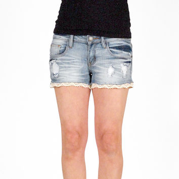 Light Washed Low Rise Denim Cutoff Shorts - Machine Jeans