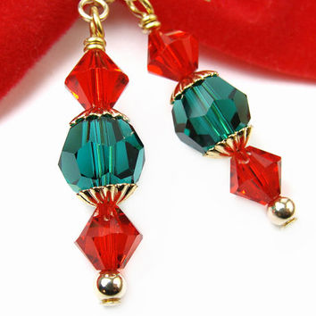 Christmas Crystal Earrings Sparkly Red Green Swarovski Dressy Handmade Holidays