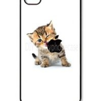 diyphonecase iphone4 case Kitten Eating Apple Logo iphone4 cases