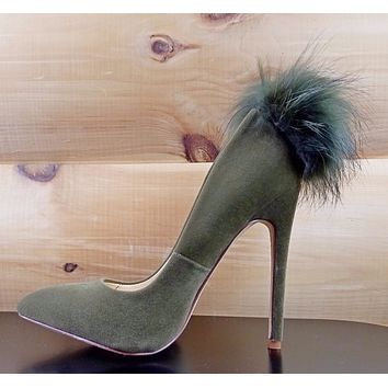 "Liliana Olive Green Furry Pom Pom Pointy Toe Pump 5"" High Heel Shoe"