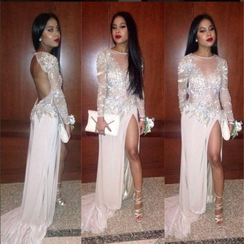 Sexy Long Prom Dresses High Side Split Long Sleeve Jewel Neckline Open Back Party Gowns