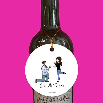 Casual Friday Engagement Wine Tag/Ornament