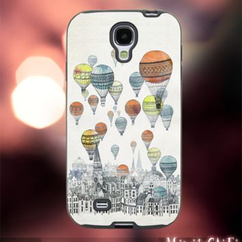 MC42Z,1,Colorful,Watercolor,Balloon Air fly -Accessories case cellphone- Design for Samsung Galaxy S5 - Black case - Material Soft Rubber
