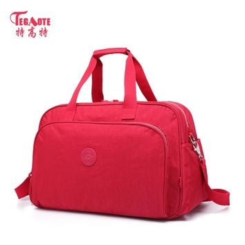 TEGAOTE brand Women Crossbody Travel Duffle Large Capacity Luggage Bag Nylon Casual Tote Waterproof Zipper Girls Black Handbags