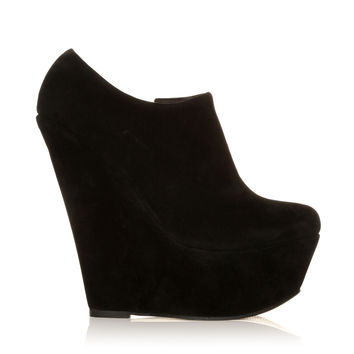 TINA Black Faux Suede Wedge Very High Heel Platform Ankle Shoe Boots