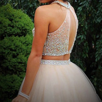 Two Piece Tulle Prom Dresses Homecoming Dresses With Beading PG025