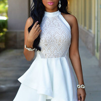 Cute White Lace Nude Irregular Layered Skater Dress