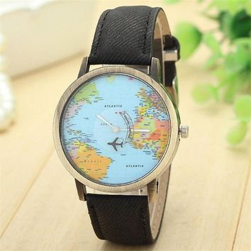 Vintage Dress Watches For Women Ladies Global Travel By Plane Map Denim Fabric Band Quartz Wrist Watch relogios femininos Clock