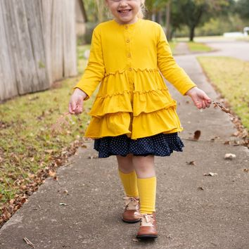 Mustard Triple Layer Ruffle Cardigan