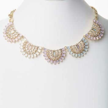 Pink Jewel Rhinestone Fan Statement Necklace/Earring Set