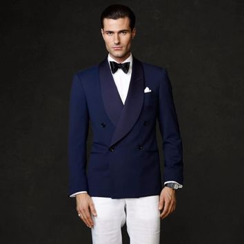 Navy Blue Double Breasted Shawl Lapel Wedding Suits For Men Custom 2 Pieces