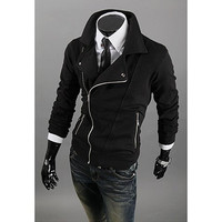 Black Multi-Zipper Long Sleeves Coat