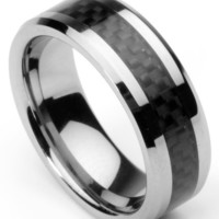 Men's Tungsten Ring/ Wedding Band with Carbon Fiber Inlay, Sizes 7 - 12 by Men's Collections (rg4)