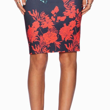 Retro Print Pencil Skirt
