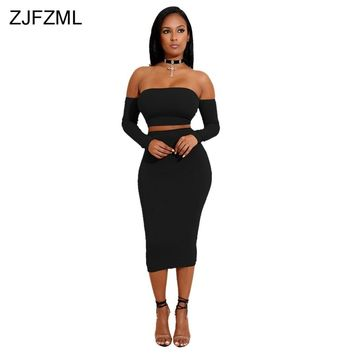 ZJFZML New fashion brand 2018 bandage dress women black slash neck full sleeve dress autumn wine red back lace up 2 piece dress