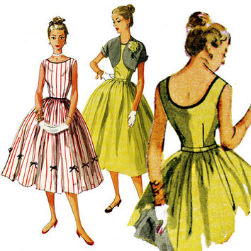 1950s Dress Pattern Bust 34 Simplicity 4250 Full Skirt Evening Dress with Low Back and Cropped Bolero Jacket Womens Vintage Sewing Patterns