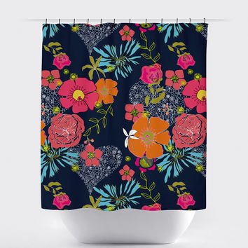 Multi Colored Floral Hearts Shower Curtain