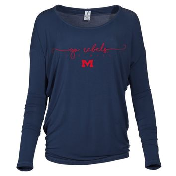 Official NCAA University of Mississippi Rebels Ole Miss Hotty Toddy Alanna- Women's Pima Modal Long Sleeve