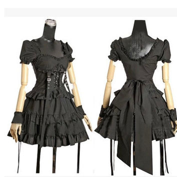 New Cotton Women Short Sleeve Black Victorian Corset Gothic Lolita Dress Ball Gown Customized Dresses