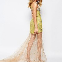 A Star Is Born | A Star Is Born Allover Luxe Embellished Mesh Insert Maxi Dress With Sheer Skirt at ASOS