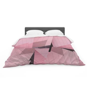 "Tiny September ""Pink Flamingo"" Pink Black Digital Featherweight Duvet Cover"